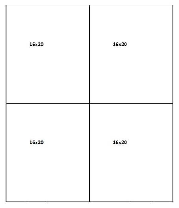 Mat cut sheet for 16 x 20 mats