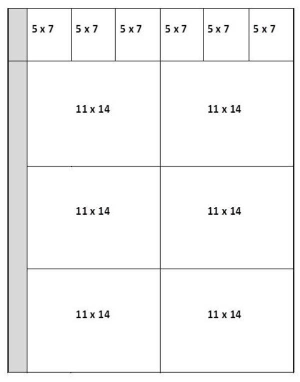 Mat cut sheet for 5 x 7 and 11 x 14 mats