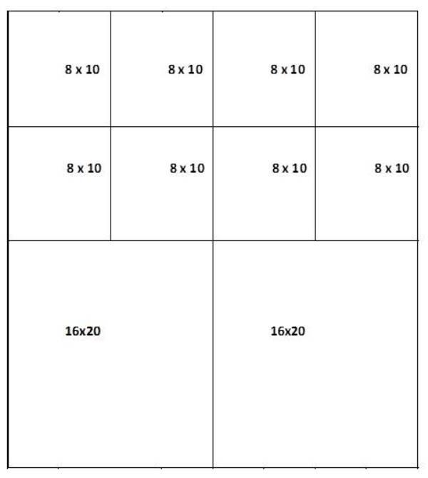 Mat cut sheet for 8 x 10 and 16 x 20 mats