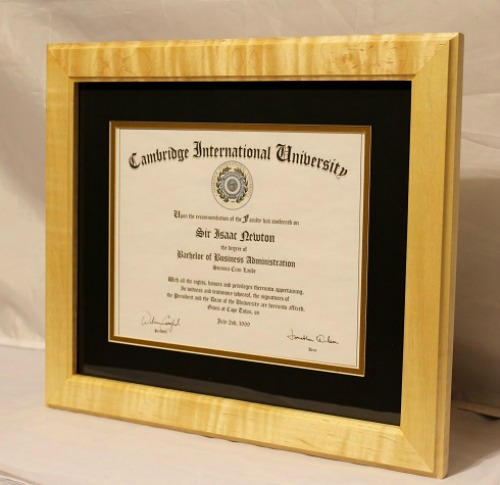 Curly Maple Diploma Frame