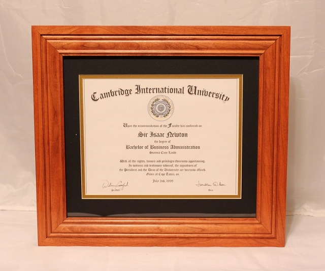 Warm Cherry Stain on a Solid Cherry Diploma Frame